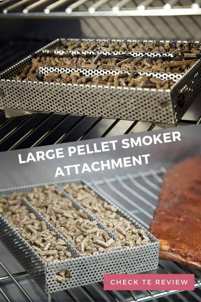 Large pellet smoker attachment on a grill with meat