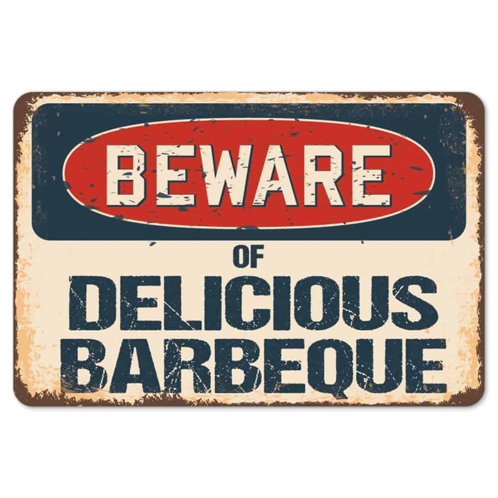 Beware of delicious bbq decal sticker