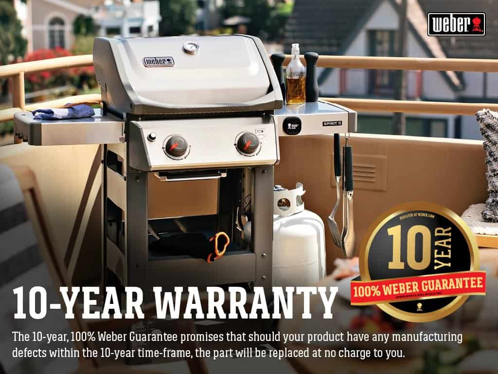 Weber liquid propane grill on a balcony