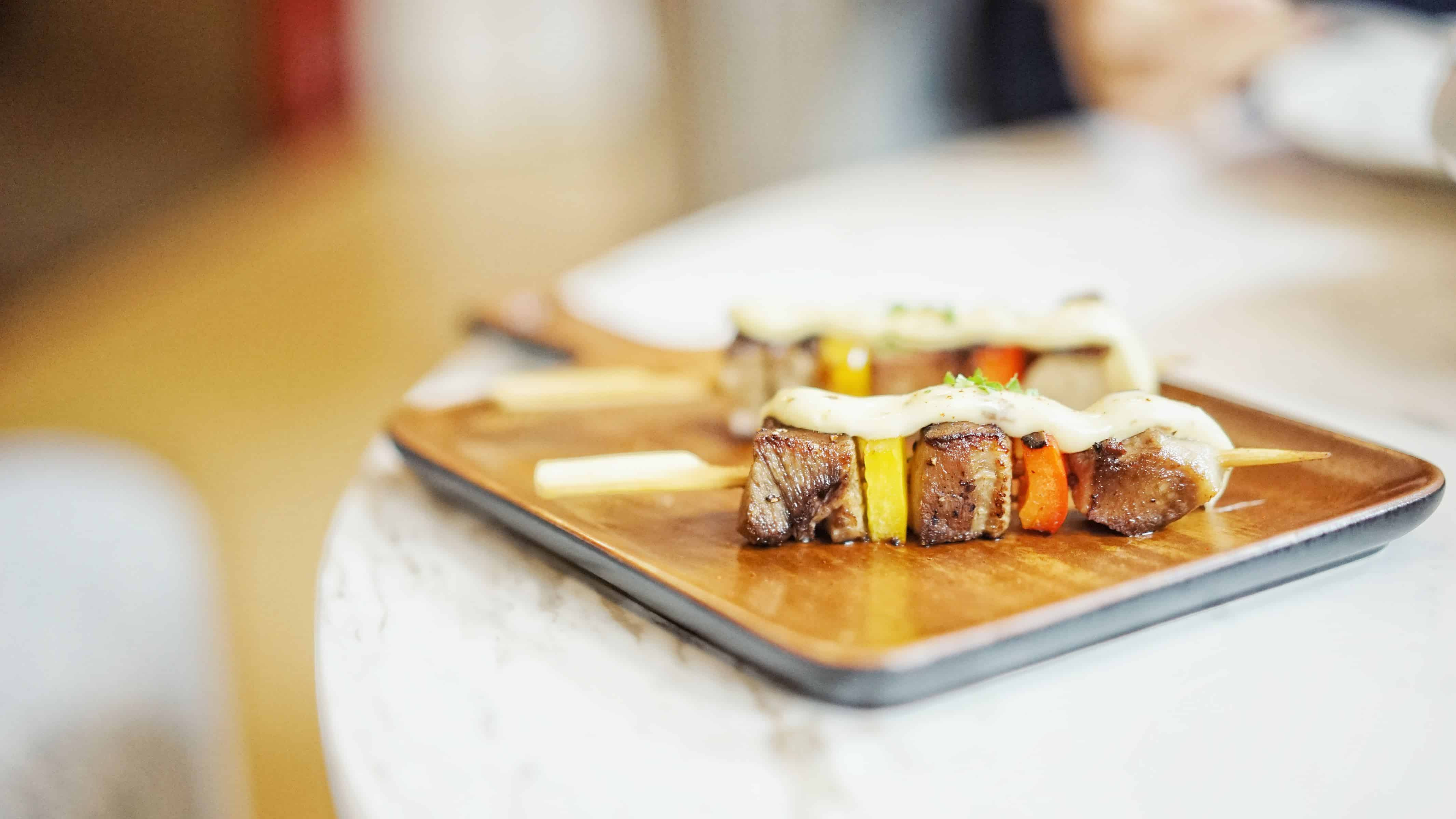 skewers on a tray