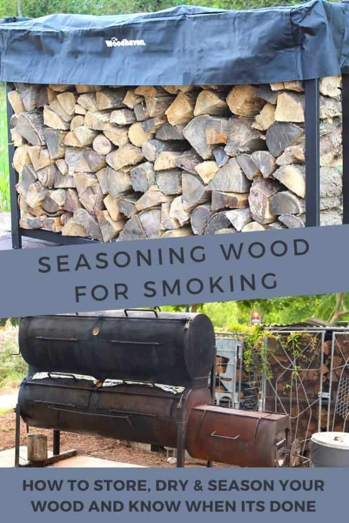 Pile of dried and seasoned wood and a BBQ smoker
