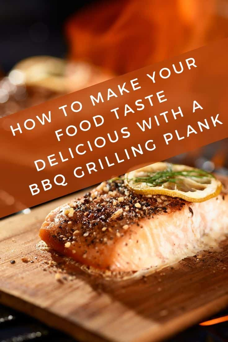 Delicious food with a grilling plank