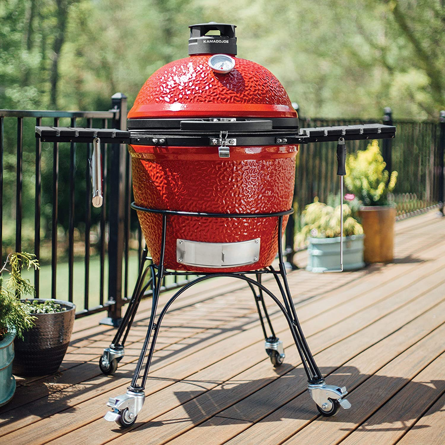 Best charcoal grill for smoking AND grilling- Kamado Joe Classic II in the garden