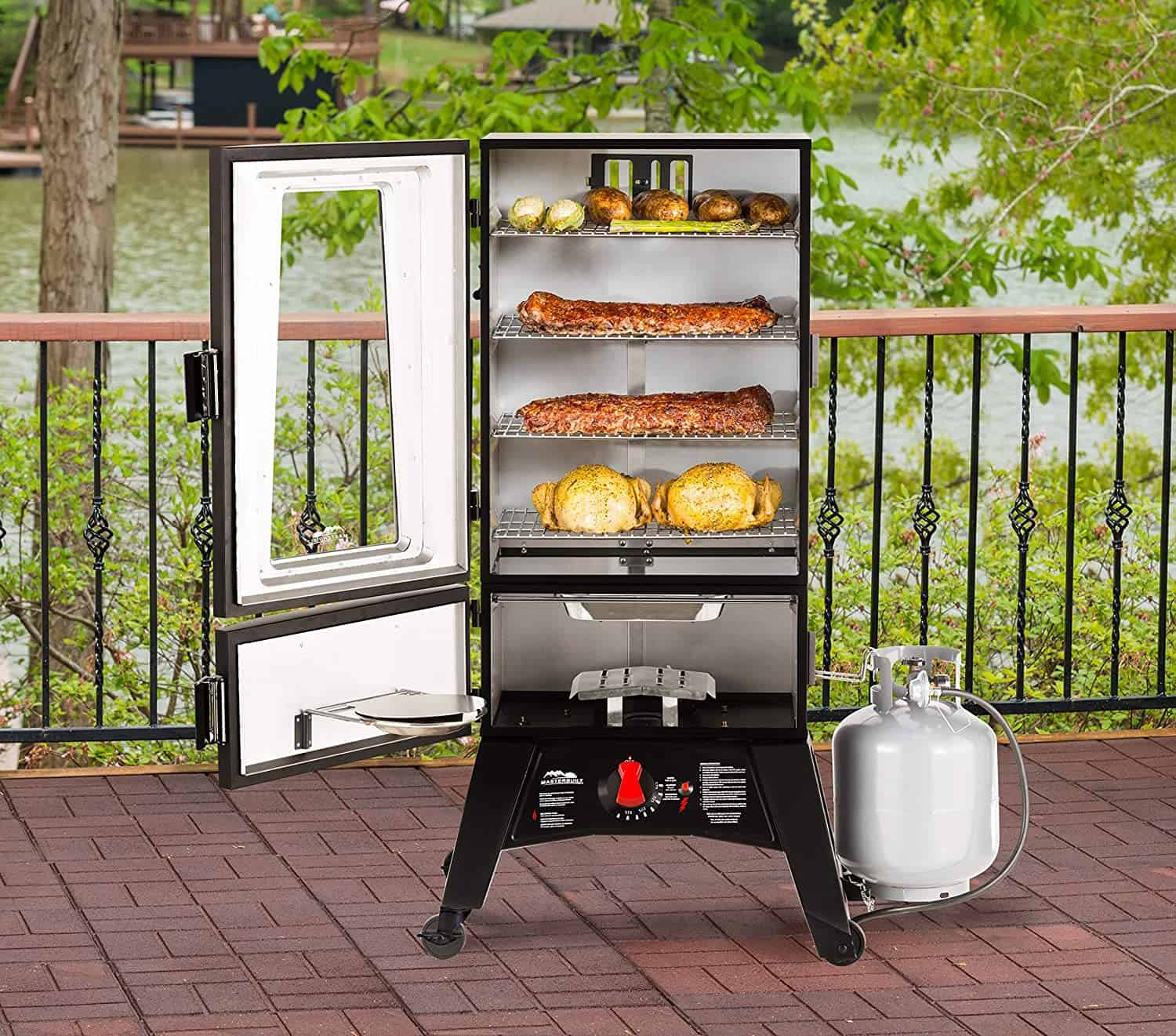 Best choice propane smoker vs electric vs charcoal Masterbuilt MB20051316 Propane Smoker with Thermostat Control