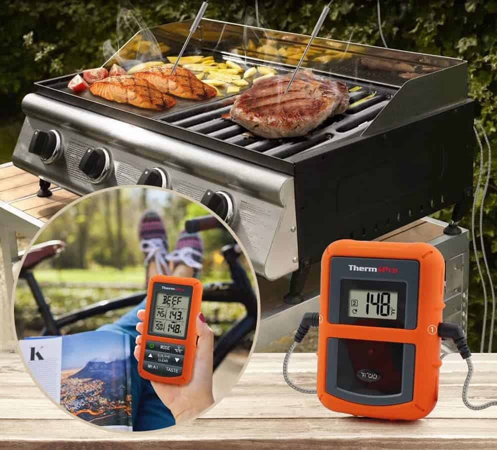 The best overall wireless meat thermometer- ThermoPro TP20 in use