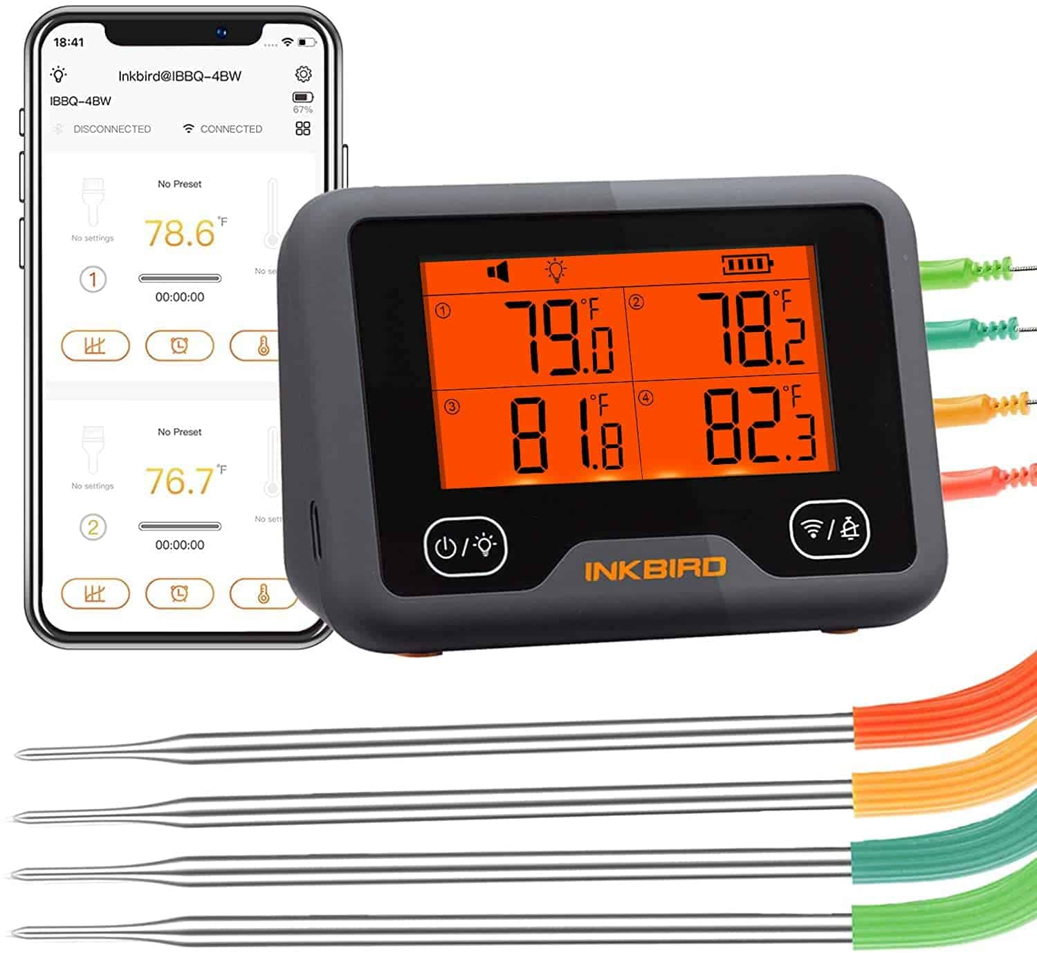 Best Bluetooth BBQ thermometer over large distances- Inkbird IBBQ-4BW