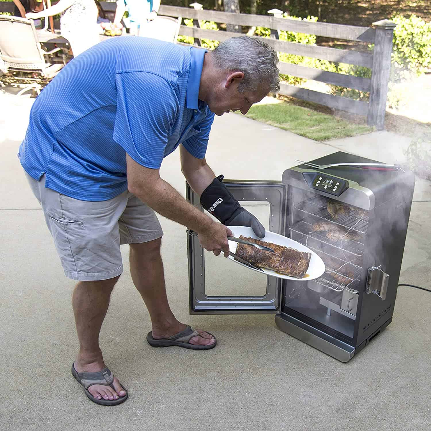 Best electric smoker for the features- Char-Broil 17202004 Deluxe in use