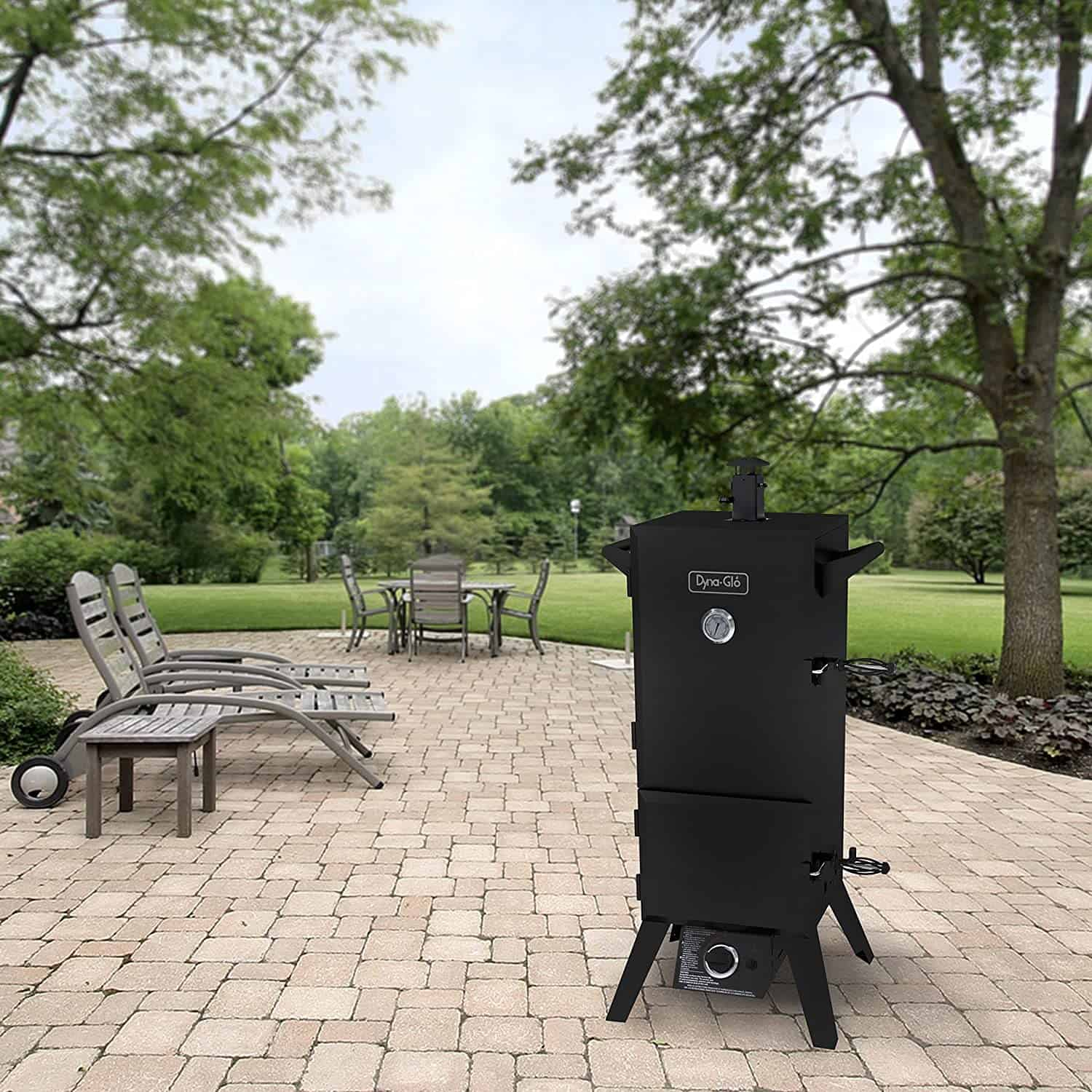 Best propane smoker overall for everyday use- Dyna-Glo DGY784BDP 36 Vertical LP in garden