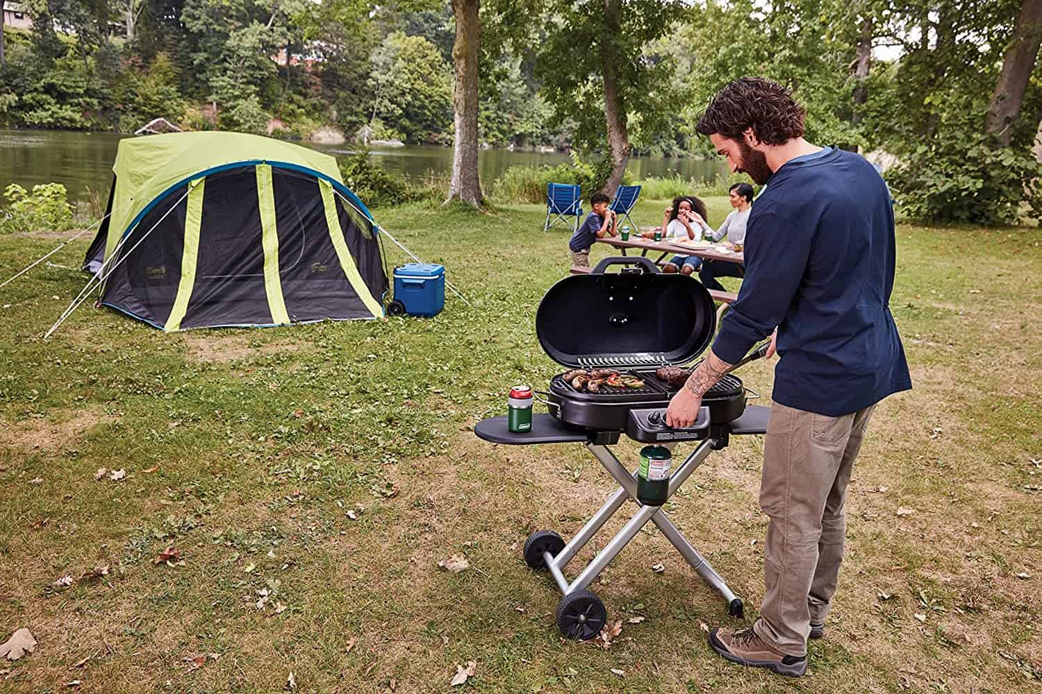 Best 3-burner propane grill for tailgating- Coleman RoadTrip 285 on camping trip