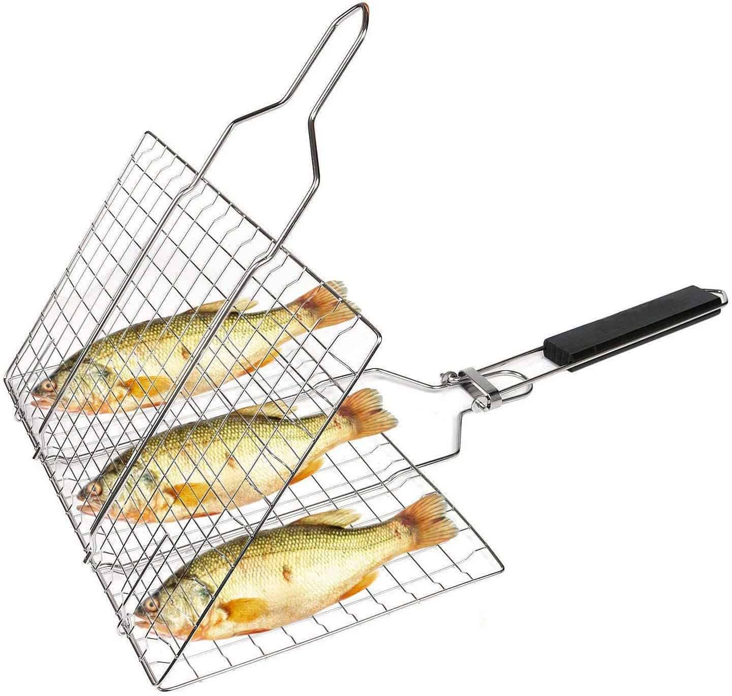 Best basket for grilling fish- SHAN PU Grill Basket with Removable Handle for Fish
