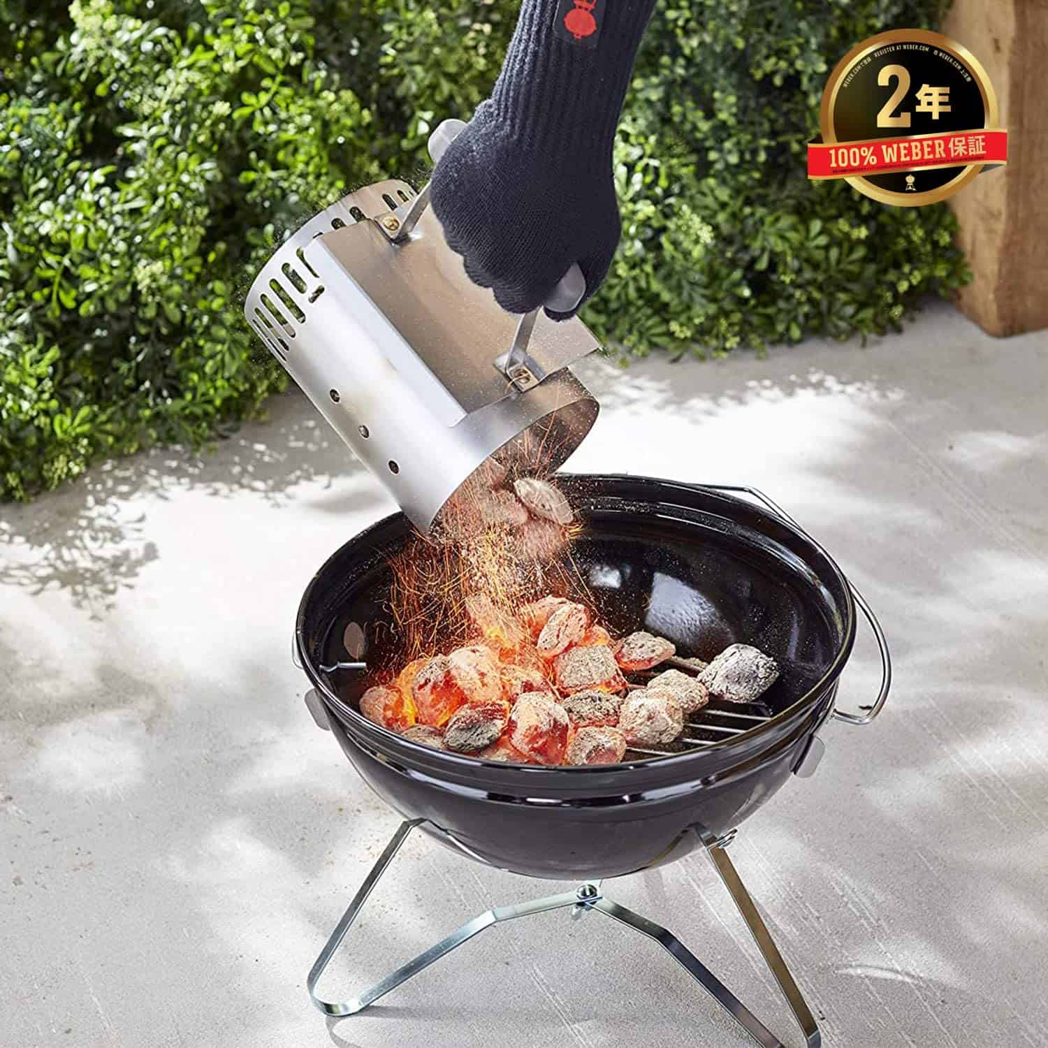Best charcoal chimney starter- Weber 7447 Compact Rapidfire with coals