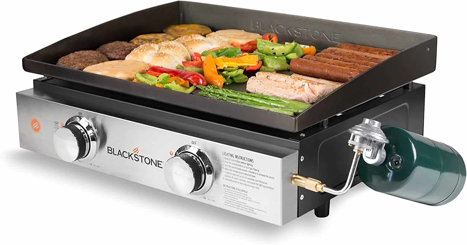 Best gas griddle under $200- Blackstone Tabletop Grill with meat