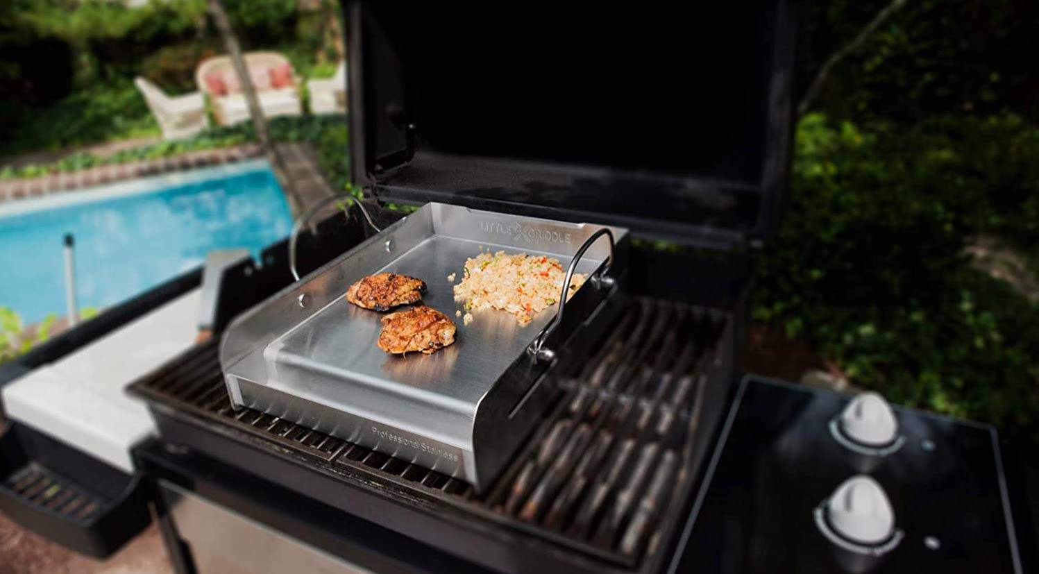 Best griddle for your existing grill- Little Griddle Sizzle-Q SQ180 on the grill