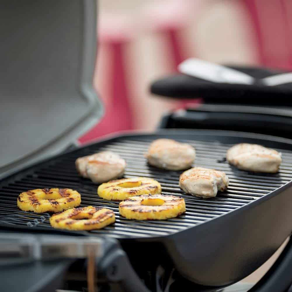 Best propane & lightweight tailgate grill- Weber Q2200 with food grilling